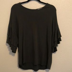 Olive Green 3/4 ruffle sleeved shirt